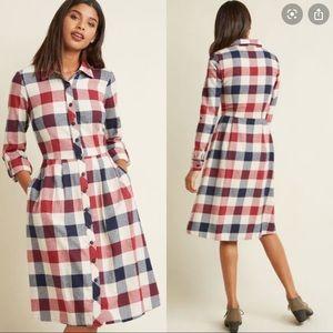 Jam, Girl Shirt Dress in Mixed Berry Buffalo Plaid